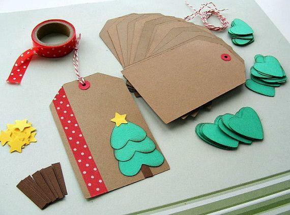 DIY Holiday Christmas Gift Tag Kit - Makes 12 (BumpOfKnowledge @ Etsy, $7)
