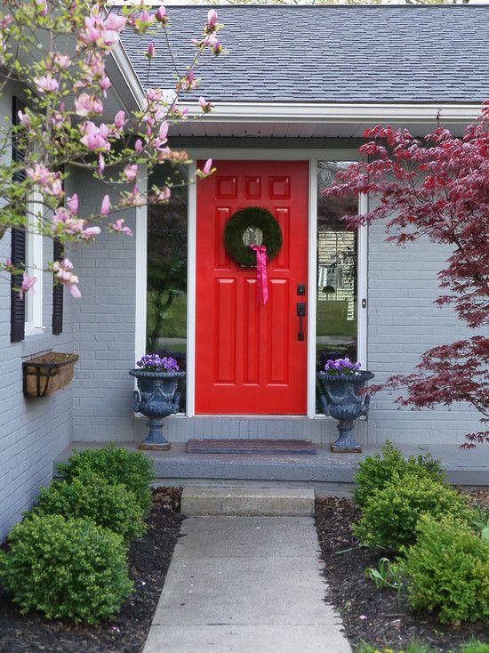 Grey House Red Door House Pinterest