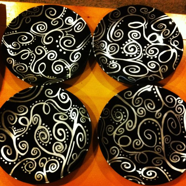 Plates at dollar tree for $1 a piece. Get a silver permanent marker for $.94. Doodle on the plates, then bake them for 30 minutes at 150 to make the designs permanent. cute plate set for only $4.94