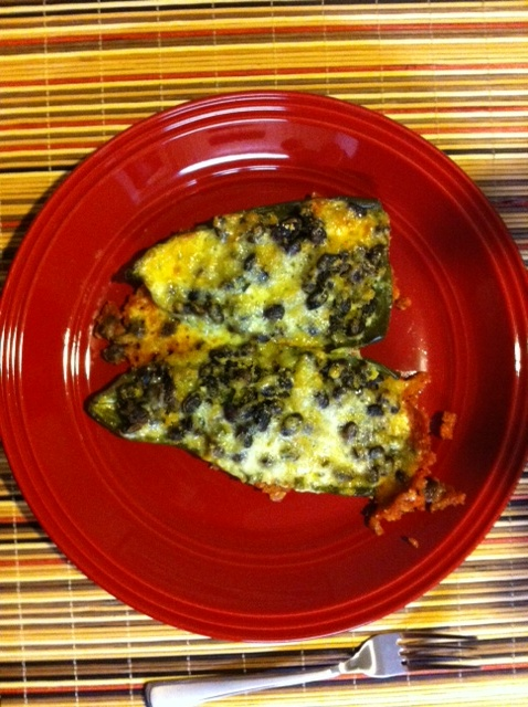 Black Bean Stuffed Poblano Peppers - recipe here: http://www ...