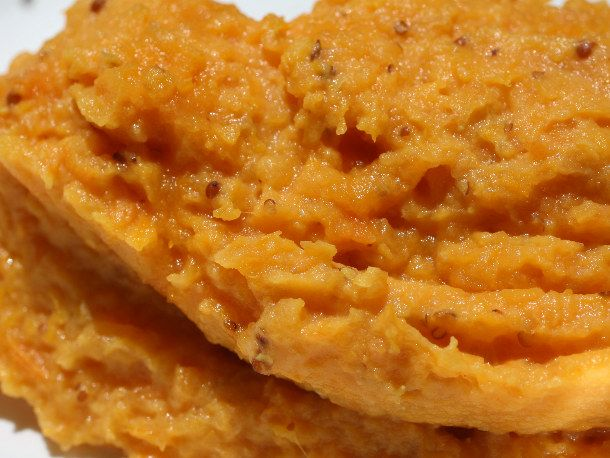 Maple Mashed Sweet Potatoes (obviously, leave out the mustard because ...