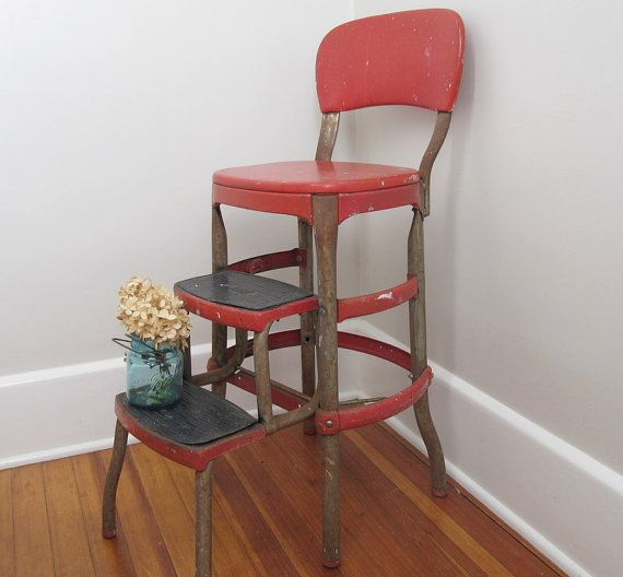 rusty cosco shabby chic kitchen stool red. Black Bedroom Furniture Sets. Home Design Ideas