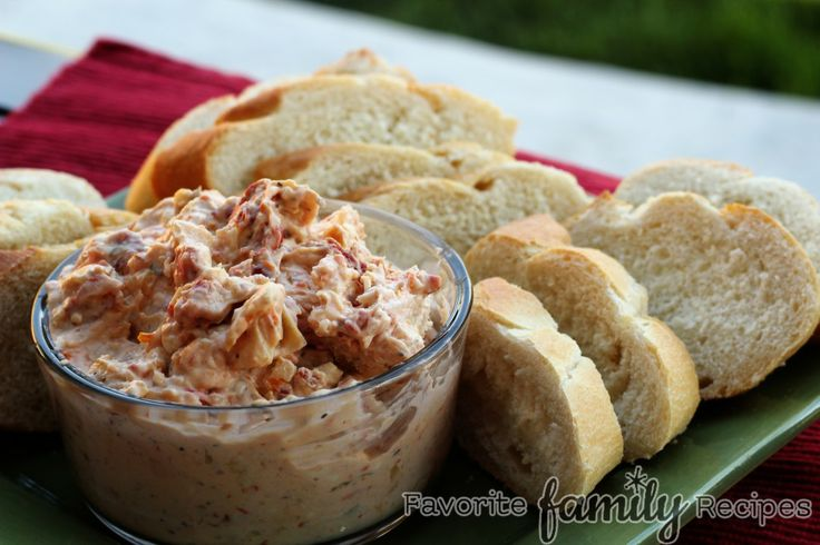 Sun Dried Tomato & Artichoke Dip with Sourdough Baguette Slices from ...