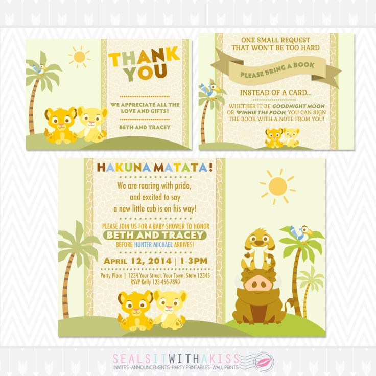 baby lion king baby shower invitation thank you card and book poem