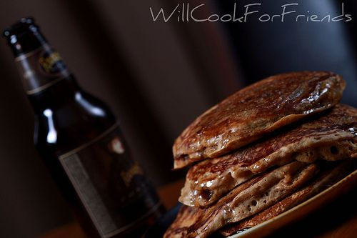 """Beer and Bacon """"Mancakes"""" .. with beer syrup. Are you kidding me ..."""