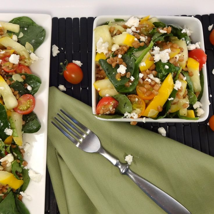 Grilled Summer Squash Wheat Berry Salad - Colleen's Kitchen