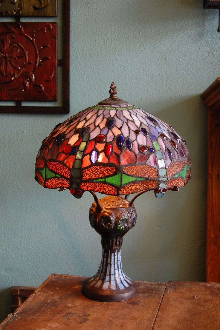 dragonfly stained glass lamp lamps pinterest. Black Bedroom Furniture Sets. Home Design Ideas
