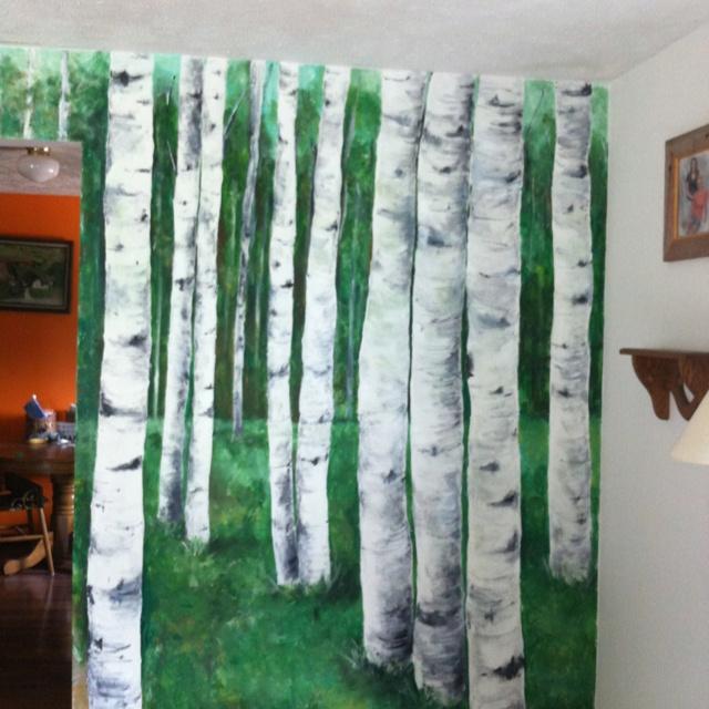 Birch tree mural mural inspiration pinterest for Birch trees mural