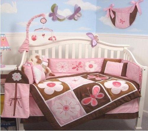 Soho pink and brown floral garden baby crib nursery bedding set