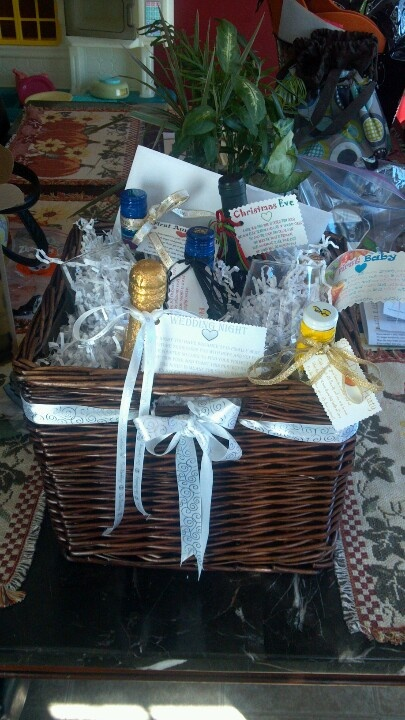Wedding Gift Basket Of Firsts : No fail wedding shower gift Wine basket. For Firsts..with poems on ...