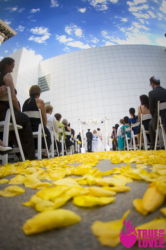 Dramatic ceremony shot in the courtyard. truelovephoto.com