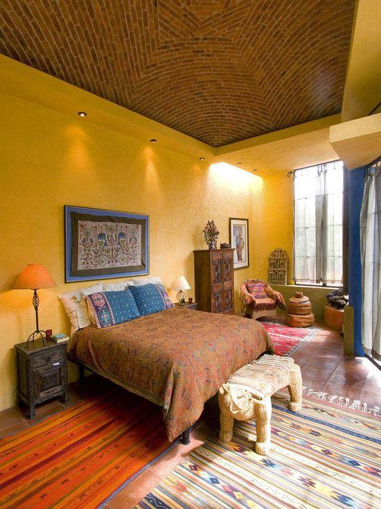 Mustard Blue Bedroom Inspo