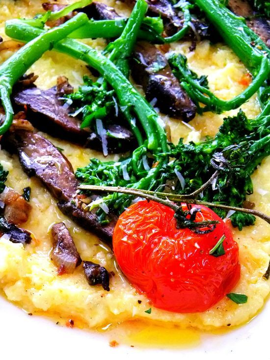 Creamy Warm Polenta with Broccoli Rabe, Mushrooms and Roasted | http ...