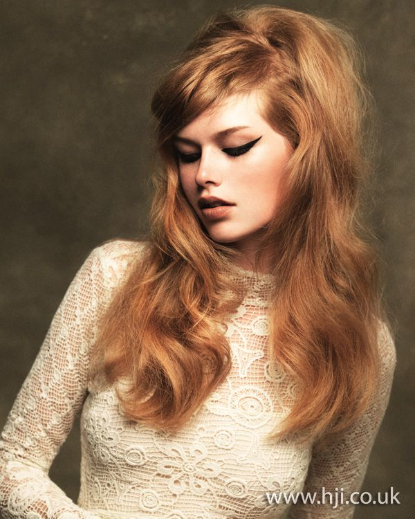 strawberry blonde long sixties style hair