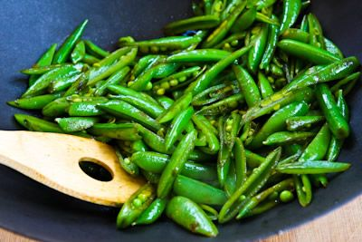... Spicy Stir-Fried Sugar Snap Peas with Soy Sauce, Sesame Oil, and