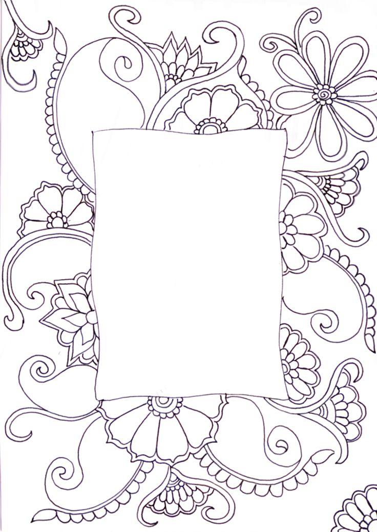 Flower Frame Line Drawing : Zentangle things i love pinterest