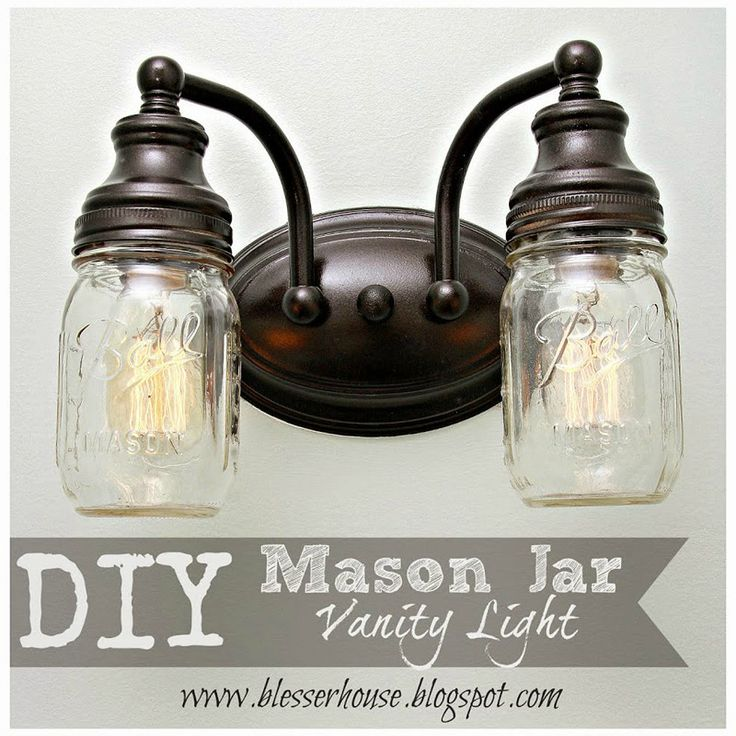 Mason Jar Vanity Lights Diy : DIY Mason Jar Vanity Light