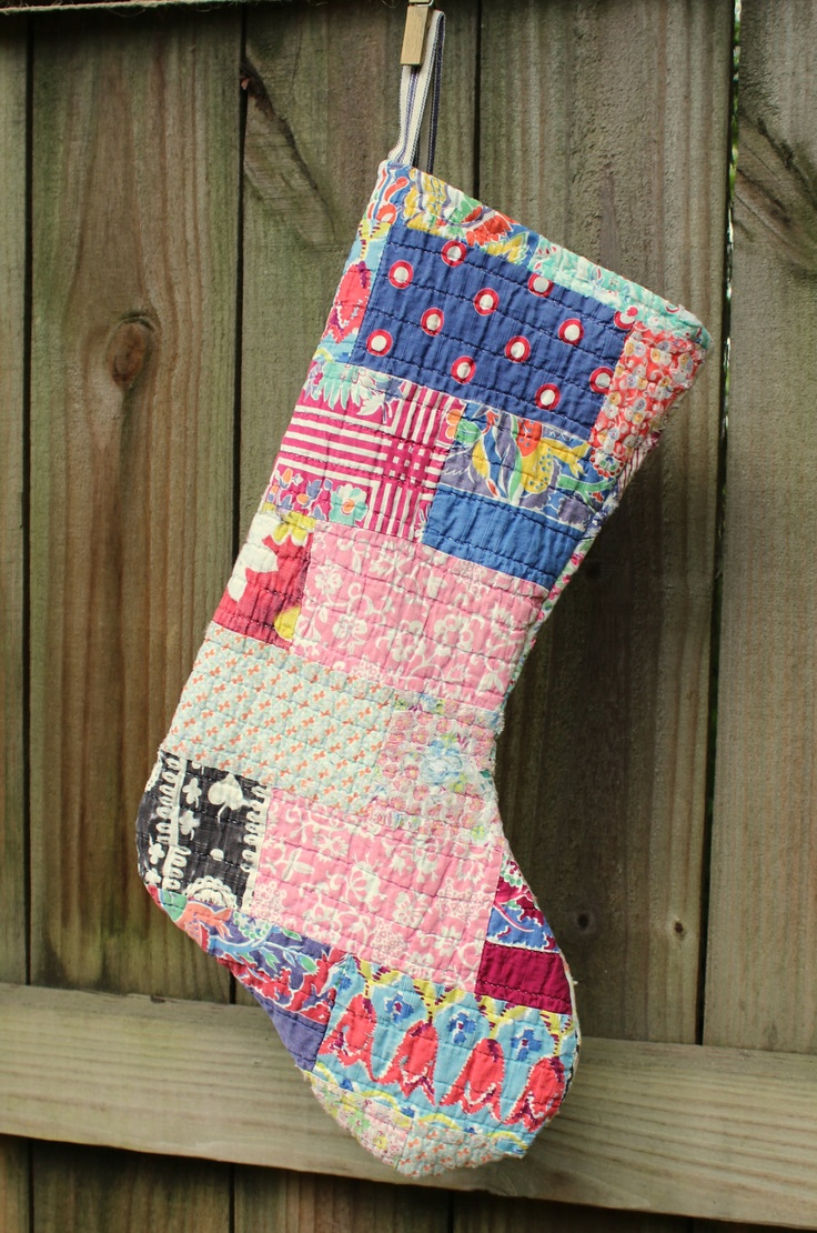 Vintage Quilt Christmas Stockings Holiday Stocking