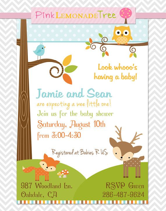 woodland baby shower invitation gender neutral by pinklemonadetree 7