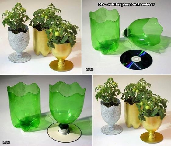 Flower pot out of plastic bottle and cd gardening and for Plastic bottle planter craft