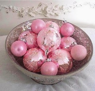 Bowl of Pink Christmas Ornaments