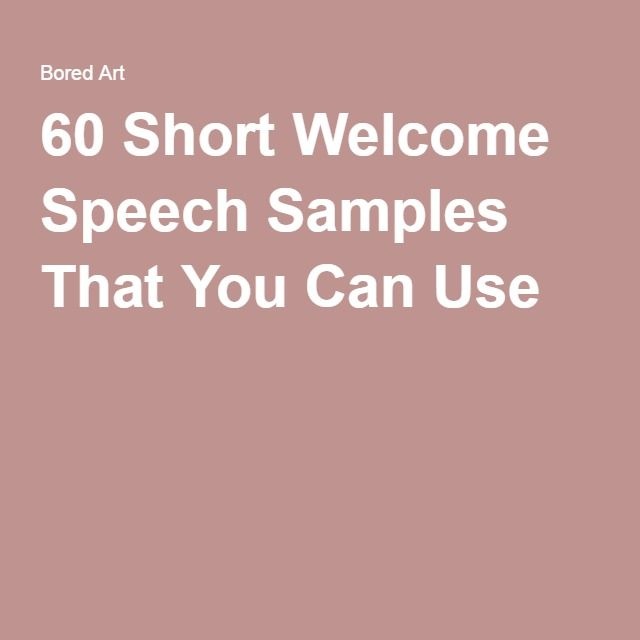 how to write a welcome address speech