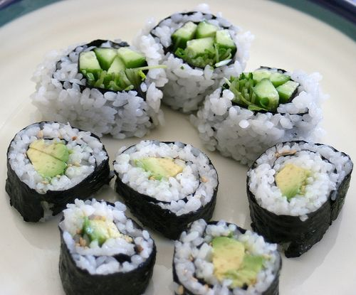 avocado and cucumber sushi | Yummy Foods | Pinterest