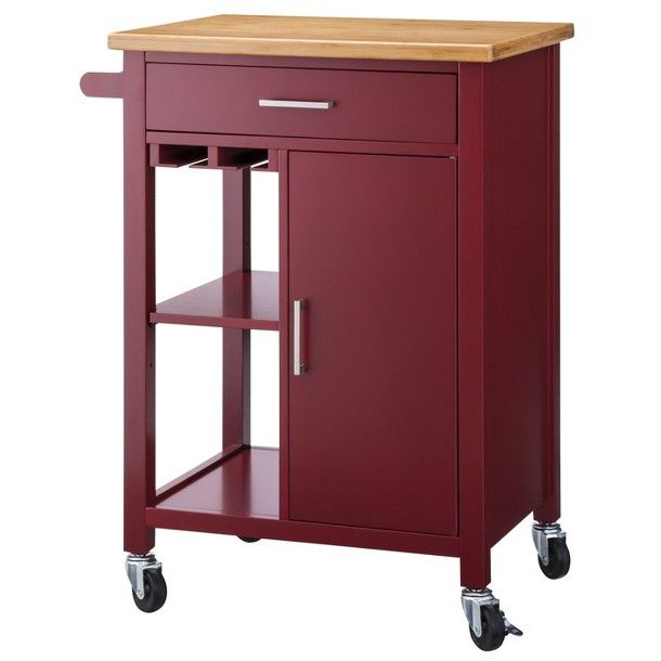 Red kitchen storage cart at burgundy wine dark red - Target kitchen cart ...