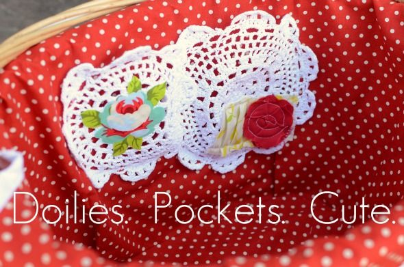 Fabric Bike Basket with Doily Pockets Ruffled Sunshine