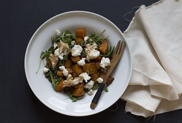 Spiced Sweet Potato & Lentil Salad with Arugula, goats cheese and a ...