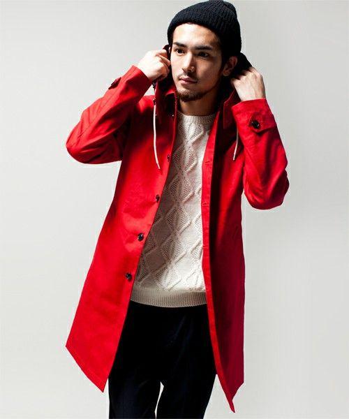 赤ステン×白セーター