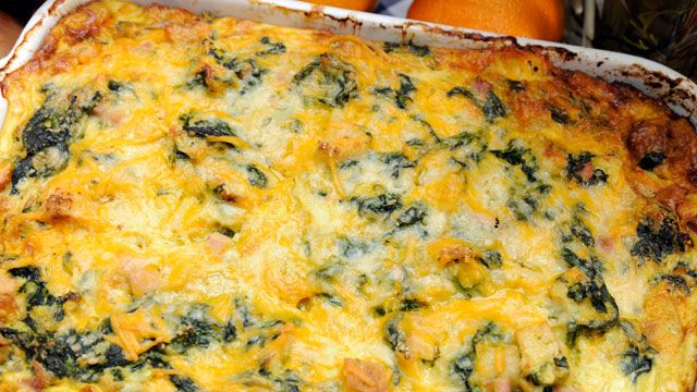 Emeril's Spinach, Ham and Cheese Breakfast Casserole
