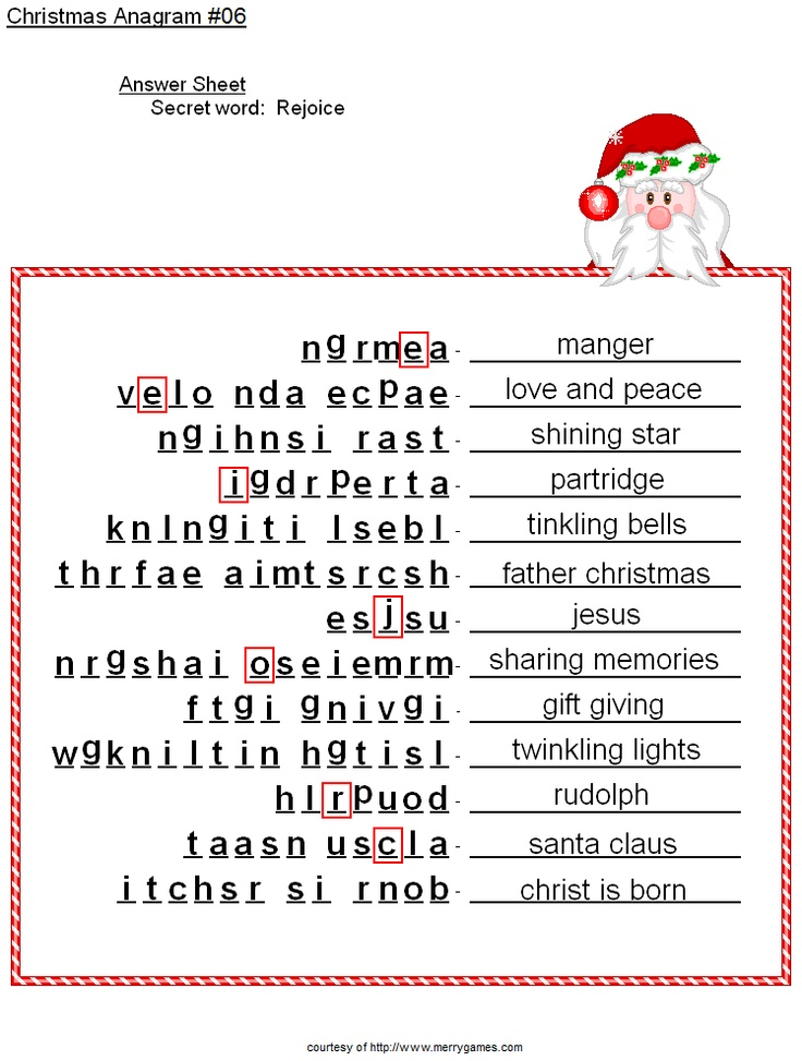 ... head anagram answer sheet | rhlc christmas party kid games | P