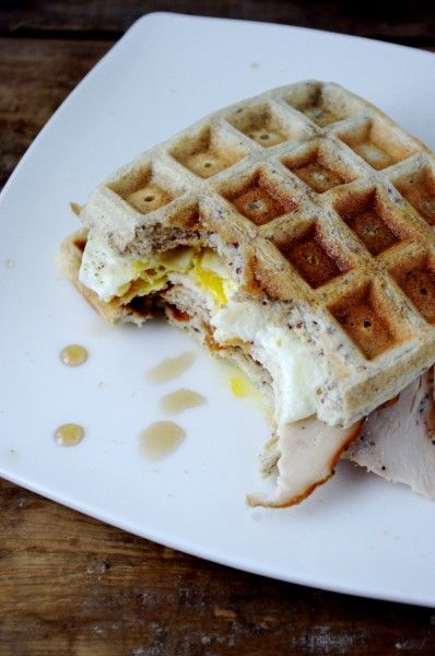 Maple Waffle, Egg & Smoked Chicken Breakfast Sammy (gluten free!)