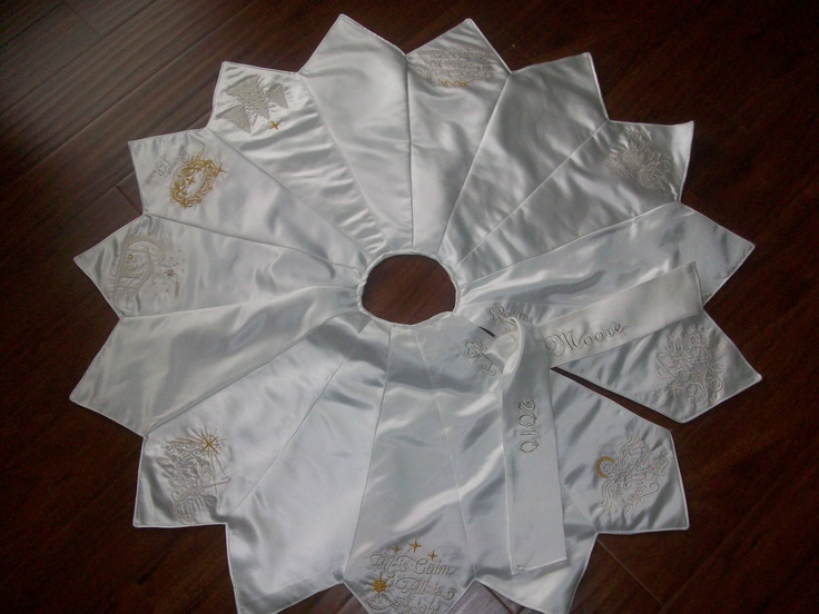 Christmas tree skirt from wedding dress this was a custom order all