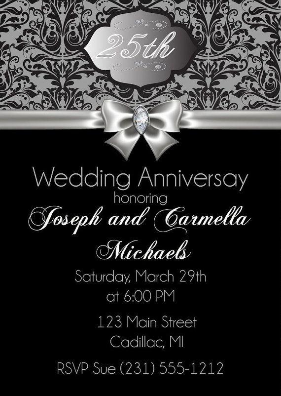 25th Anniversary Invitation 25th Wedding Anniversary Invitation Sil