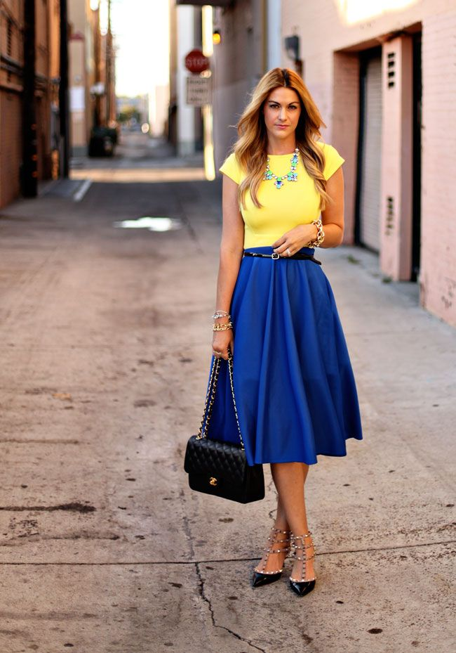 Yellow Top + Blue Skirt + Bright Rhinestone Necklace. Vintage inspired tea-length skirt! #vintagewear #fashion #Kendjino