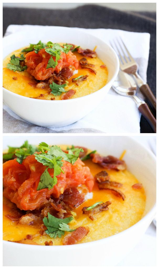Bacon Cheddar Corn Grits w/ Fried Egg and Tomato Slaw   Recipe