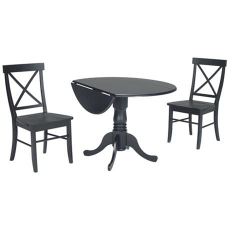 Exalted Blue Dual Drop Leaf Table And Chairs Dining Set