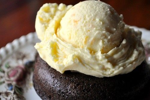 Dark Chocolate Doughnuts topped with Orange-Cardamom Ice Cream ...