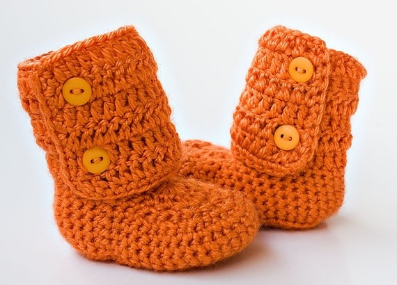 Baby Booties/Sandals $18 #baby #orange #booties #crochet #etsy