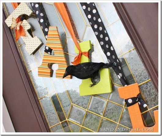Fall Door Decor tutorial.  I would personally lose the bird but I love the letters and ribbon.