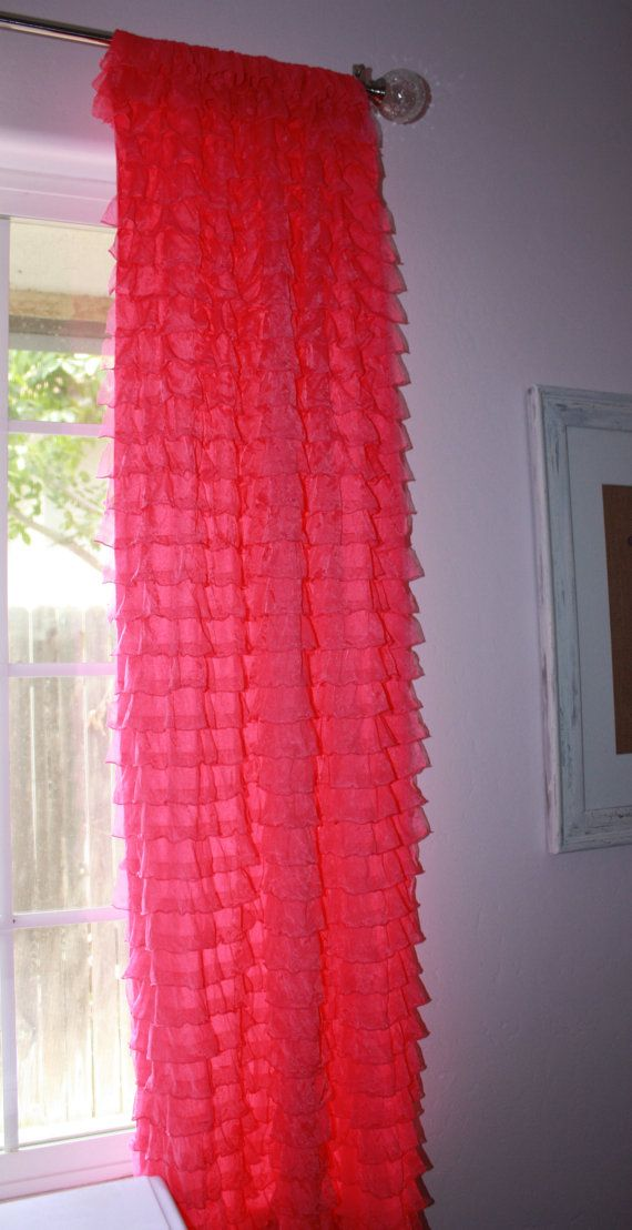 Thermal Curtain Liner Panels Pink Ruffle Blackout Pane
