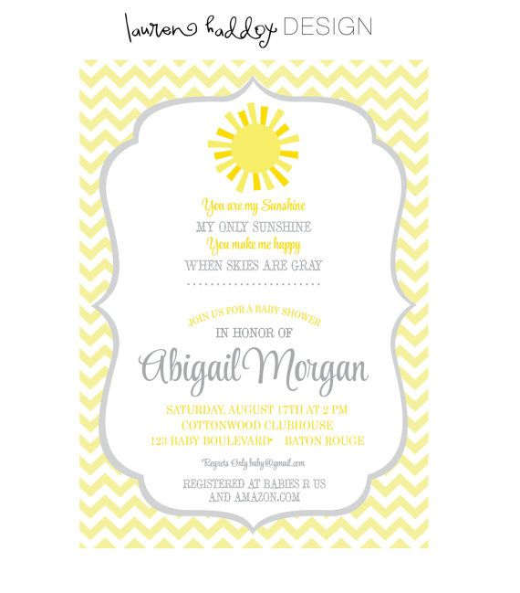 diy you are my sunshine baby shower invitation only