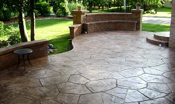 stamped concrete patio with wall house wants pinterest