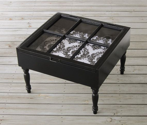 Sash Window Coffee Table In Black Shadow Box With Flocked Damask Fab