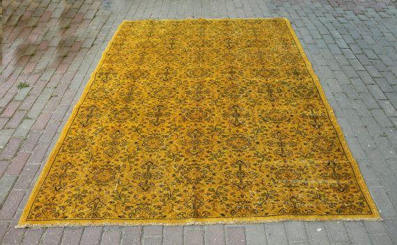 74 X 100 Turkish Vintage Carpets Mustard Yellow Rug