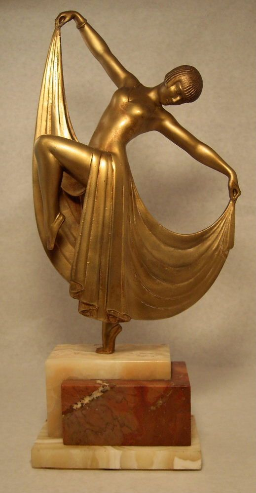 A classic French art deco spelter figure by Gilbert 1930s.