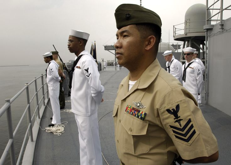 to wear USMC uniforms (except dress blues) modified with a US Navy ...