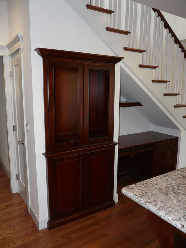Under the stair pantry and desk for the kitchen pinterest for Kitchen designs under stairs